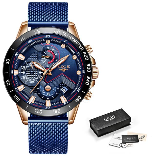 Reloj Azul Casual malla Correa moda cuarzo oro para hombre relojes marca superior reloj impermeable de lujo
