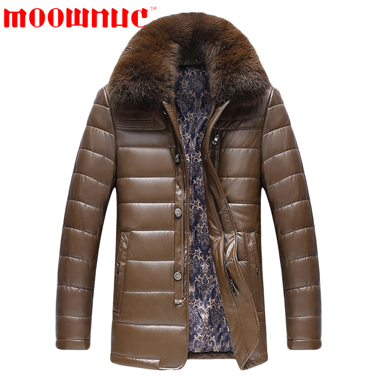 Down Jackets for Men Fur Collar Casual Winter Coats Outwear Slim Fit Business Jackets Free Shipping Fashion Warm Brand MOOWNUC