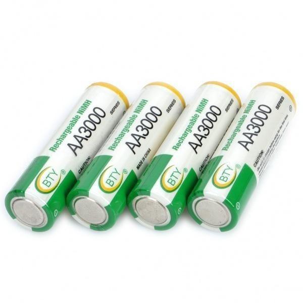 Nueva 4 Unids Bty Ni-mh 1.2 V AA Bateria Recargable 3000 MAh 2A Baterias Bateria Para Camara LED Torch Lantern Special Battery