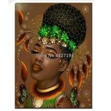 full diamond embroidery bead patterns square 5d diy painting African woman Mosaic rhinestones needlework beauty