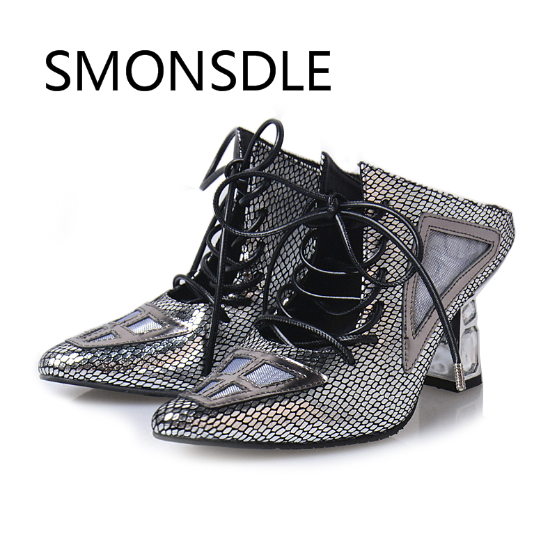 2018 Fashion Strange Style Heels Genuine Leather Pointed Toe Lace Up Women Pumps Cross Tied Sexy Ladies Mules Shoes Woman цена
