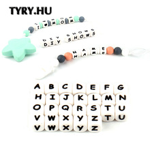 TYRY 100Pcs Alfabetbog Silikone Teether Perler Mad Grade Chewing 26 Letters Bead For DIY Tandkæde Halskæde Pacifier Chain