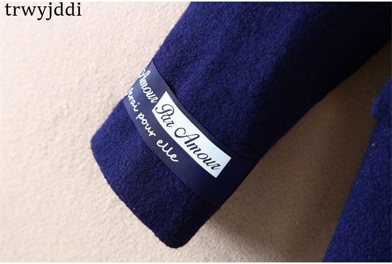 Lungo giù Il 2018 Ricamo N80 Lettera Di Autunno Cappotti Giubbotti Streetwear Nuovo Lana Navy Inverno Gira Donne Arrivo Collare Allentato Del fpFqfw6T