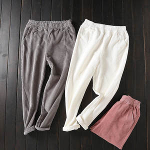 Image 2 - Женские вельветовые брюки, повседневные шаровары большого размера 3XL с эластичным поясом, на осень и зиму, C4856