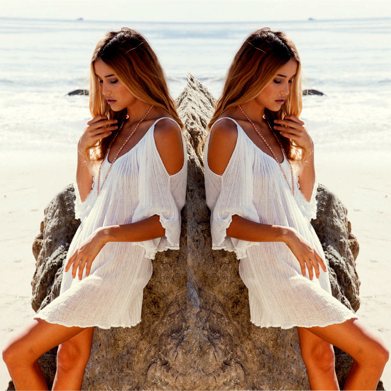 New Woman Beach Dress swimwear cover up Sexy Swimwear Summer White Beach Cover up Dress Swimsuit Katfan Tunic Hotsale 5