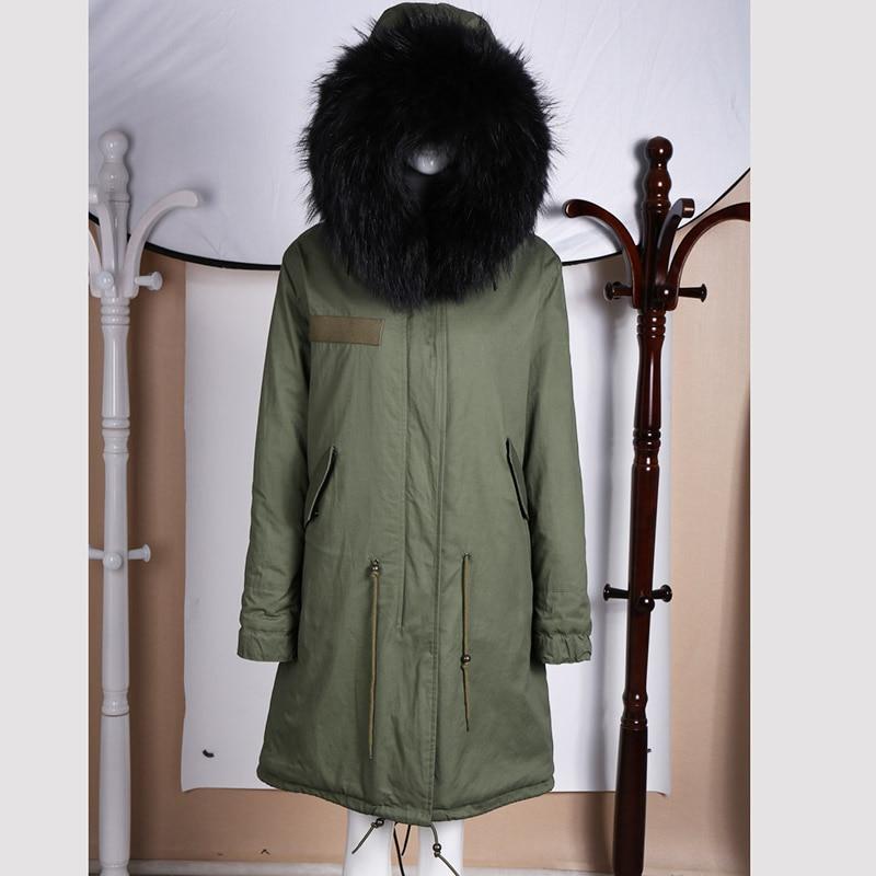 Long unisex style lamb lining black shell fabric winter jacket
