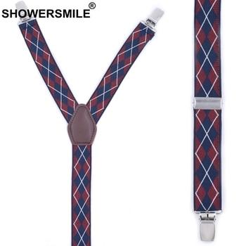 SHOWERSMILE Navy Shirt Stays Men Argyle Suspenders Y Shape Galluses Red Business Garters 2.5cm Sock Mens