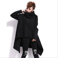Fashion Women's Oversized Hoodies 2019 Autumn And Winter New Plus Size Padded Black Gray Sweatshirts Long Irregular Pullovers