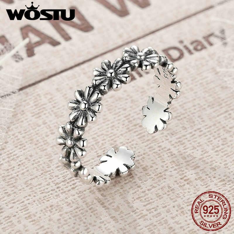WOSTU אמיתי 925 סטרלינג כסף בציר Stackable חרציות פתוח אצבע טבעות נשים גברים מותג טבעת תכשיטים CSR046