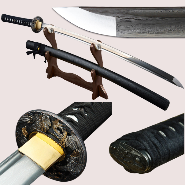Pilns roku darbs melnais japāņu samuraju zobens Katana Damaskas - Mājas dekors