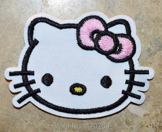 Free shipping cute hello kitty pink butterfly iron on patches