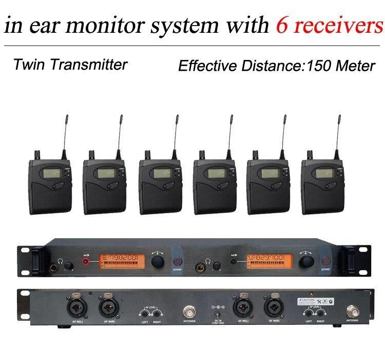 6 Pack Ricevitori + Wireless In Ear Monitor di Sistema di Doppia Con Letti Singoli Trasmettitore, professionale Senza Fili di Monitoraggio Orecchio SR 2050 IEM per la Fase