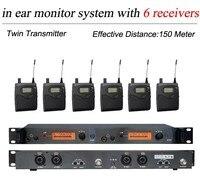 6 Pack Ricevitori + Wireless In Ear Monitor di Sistema di Doppia Con Letti Singoli Trasmettitore  professionale Senza Fili di Monitoraggio Orecchio SR 2050 IEM per la Fase|Microfoni|   -
