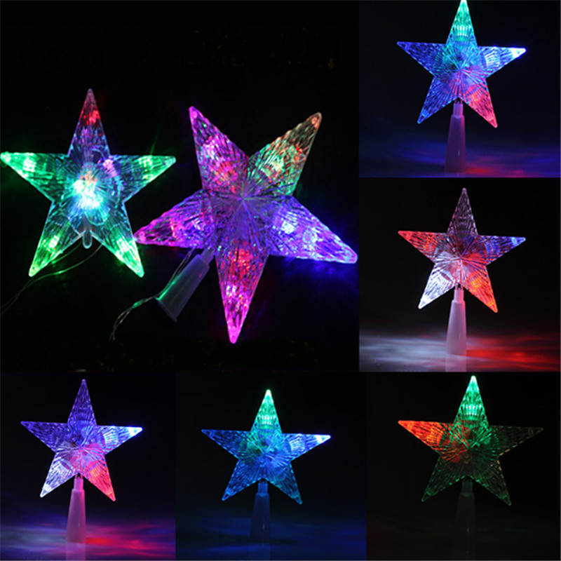 Color Changing Christmas Lights Outdoors: New Colorful Changing Christmas Tree Topper Star LED Night Light Lamp For  Indoor Outdoor Tree Decoration,Lighting