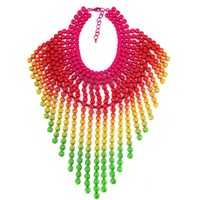 Fashion Jewelry 2014 Exaggerated Big Collar Small Beads Plated Gold Chain Long Tassels Hot Sale Necklaces