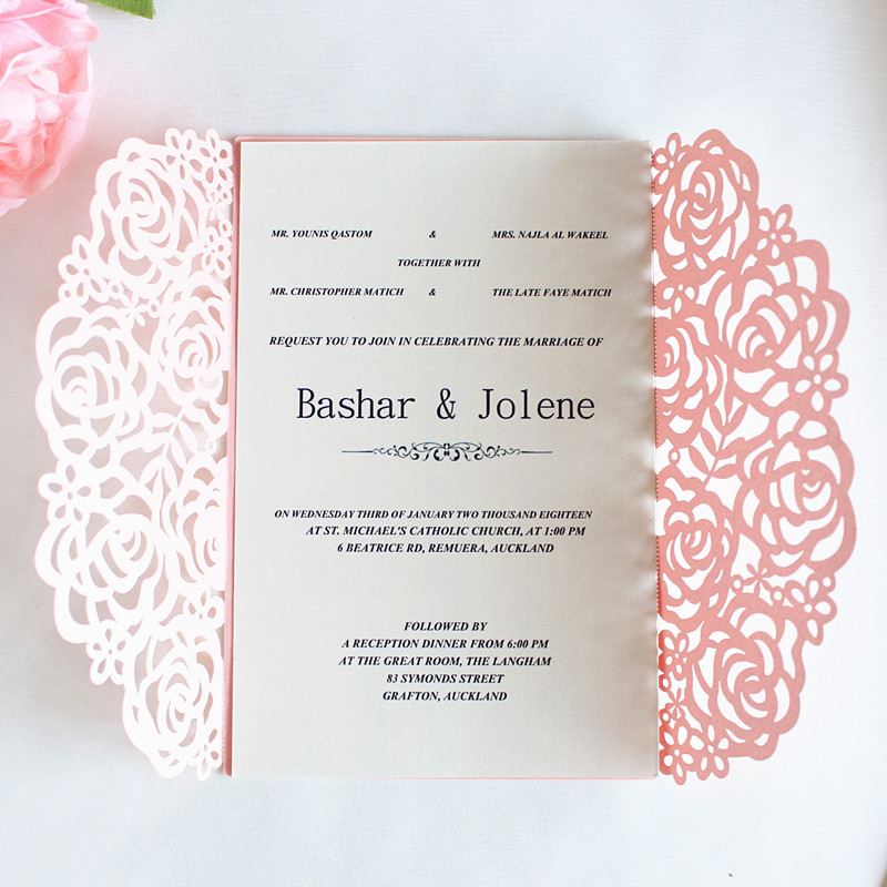 Pink rose laser cut invitation cards for wedding engagement christening with envelop inner card romantic invites