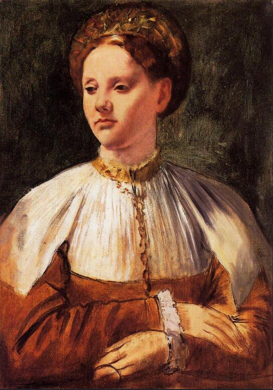 High quality Oil painting Canvas Reproductions Portrait of a Young Woman (after Bacchiacca) (1858-185By Edgar Degas hand paintedHigh quality Oil painting Canvas Reproductions Portrait of a Young Woman (after Bacchiacca) (1858-185By Edgar Degas hand painted