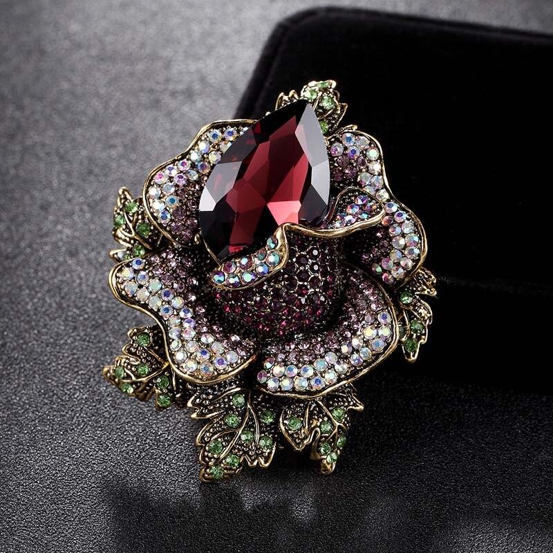 Nuevas DAMAS Negro Vintage Flor Cristal Gema Broche