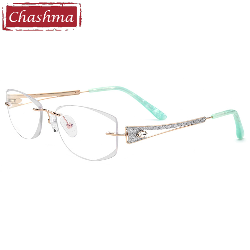 Chashma Brand Luxurious Rimless Titanium Super Quality Light Spectacles Fashion Eye Glasses Frame oculos de grau
