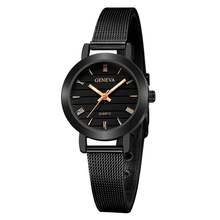 Fashion Small Black Women Watches Casual Stainless Steel Wom