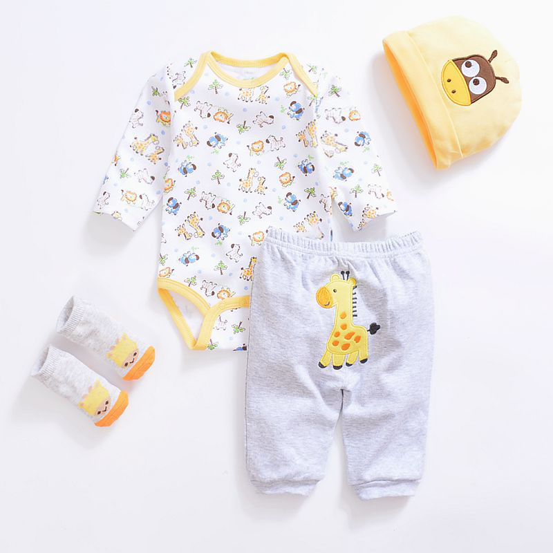 2019 Fashion Newborn Infants Baby Boys Girls Rompers +Long Pants +Hats + Sock Baby Pajamas Animal 100% Cotton Baby Clothes Sets