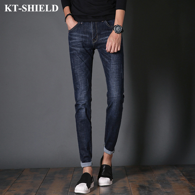 New Fashion Men Brand Designer Jeans Pants Slim fit Casual Jeans Men Straight Cotton Blue Mens