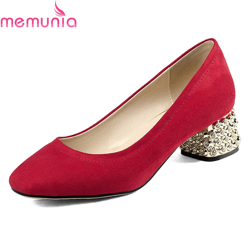 MEMUNIA 2018 fashion leisure med heel square toe ladies shoes high quality shallow slip-on spring autumn casual shoes new 2017 spring summer women shoes pointed toe high quality brand fashion womens flats ladies plus size 41 sweet flock t179