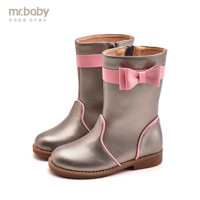 Mr.baby Original kids shoes 2018 New Winter Warm Lovely Bow Contrast color Princess Girl Children boots contrast bow flat sliders