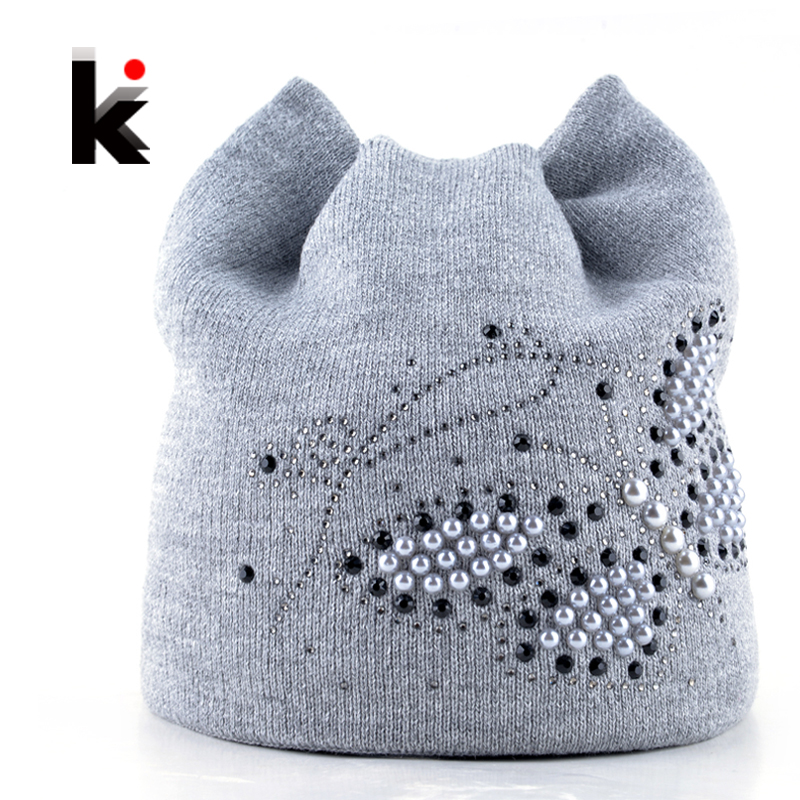 Winter Cat Beanie Hat Ladies Knit Hats For Women Beanies Caps Pearls Butterfly Diamond Beanie Touca Knitted Cap With Ear Flaps hight quality winter beanies women plain warm soft beanie skull knit cap hats solid color hat for men knitted touca gorro caps