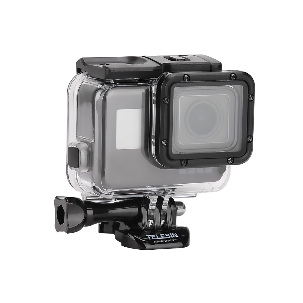 TELESIN 45M Underwater Housing Waterproof Case Shell + Touchable Cover for Go pro Hero 5/Hero 6 Case Housing Accessories