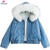 Kürk Trim Hood ile Pamuk Astar Uzun Denim Ceketler Kadın Kış Hardy Sıcak Denim Coats Ceketler Kadın Artı Boyutu Gevşek giyim