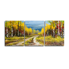 Laeacco 3 Panel Nordic Natural Autumn Trees Wall Artwork Posters and Prints Canvas Painting For Living Room Home Decor