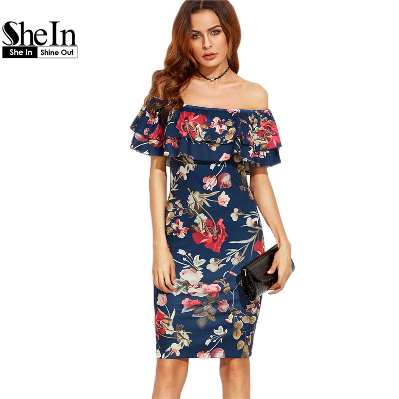 SheIn Summer Dress 2017 Clothes Women Short Sleeve Multicolor Floral Print Off The Shoulder Ruffle Sheath Dress