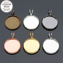 LINSOIR 10pcs Gold Color Necklace Pendant Blank Base Fit 10 12 14 16 18 20 mm Cabochon Setting Cameo Tray For Diy Jewelry Making(China)