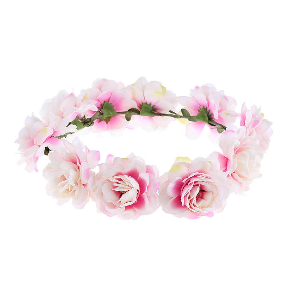 Okdeals nueva moda mujeres niños niñas boda flor novia corona guirnaldas florales novia diadema accesorios para el cabello