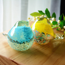 Cute hello Glass birds colored glaze birthday couple gift creative paper town desktop decoration home decora small ornaments