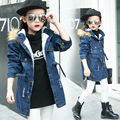 Hooded Girls Coat New Girl Fur Coat Winter Warm Kids Jacket Outerwear Children Clothing Baby Tops Girl Coats Girl Jean Jacket
