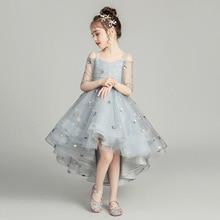 Романтичное белое платье с лепестками для свадебного банкета, с цветочным узором для девочек; вечерние платья с принтом со звездами для девочек