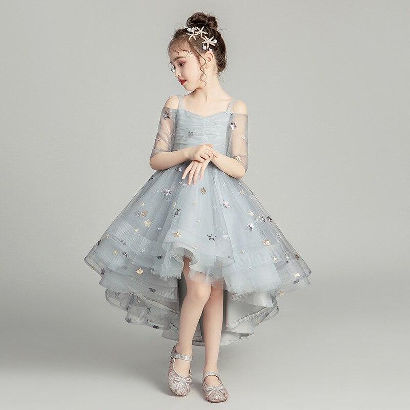 Fleur fille romantique mariage Banquet blanc pétale robe étoile imprimé robes pour les filles à l'eucharistie échange Etiquette fête