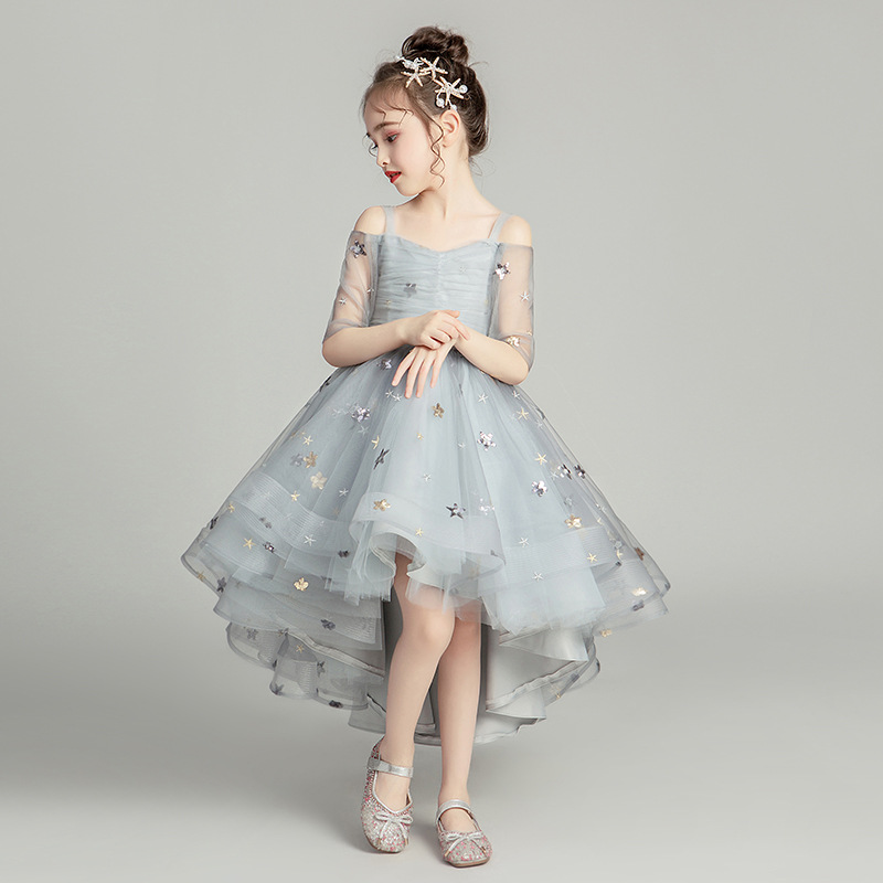 Flower Girl Romantic Wedding Banquet White Petal Dress Star Printed Dresses For Girls At Eucharist Exchange Etiquette Party
