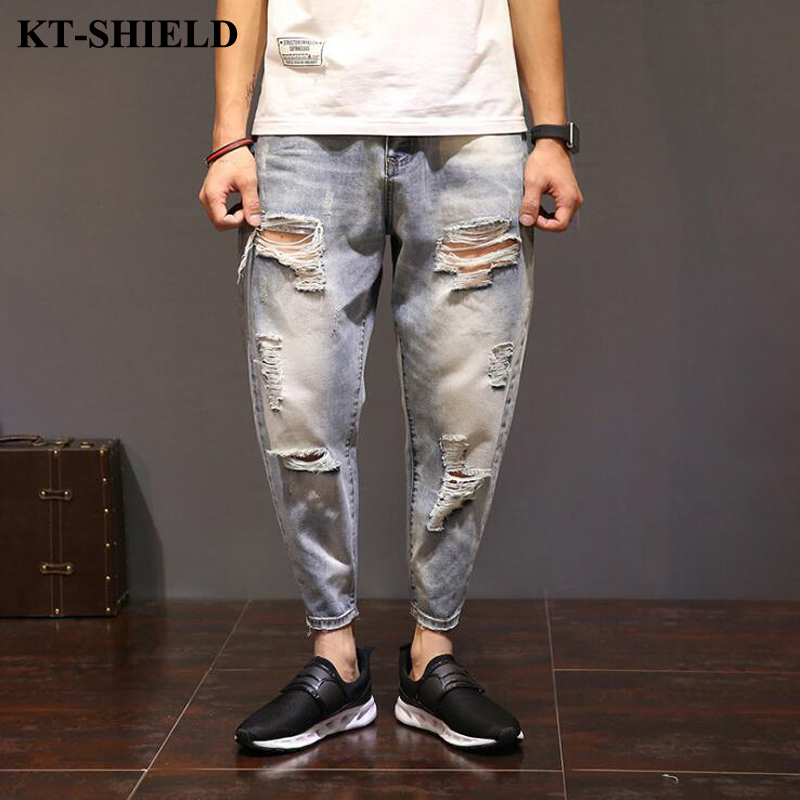 Mens Ripped Jeans Brand Designer Fashion Jeans for Men Distressed Denim Trousers Male Luxury Street Loose