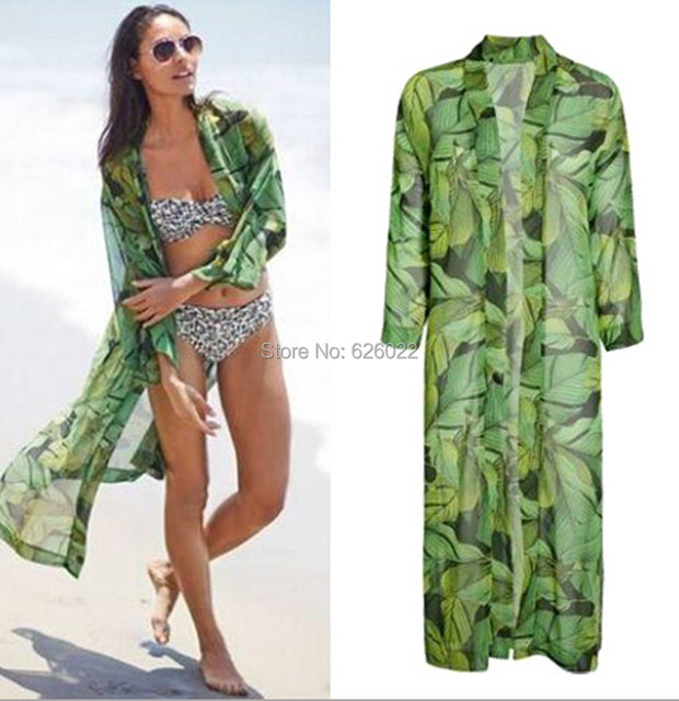 426c12ce8 2015 New Women's Green Leaf Print Loose Long Chiffon Kimono Cardigan Shirts  No Button Blouses Sunscreen Tops