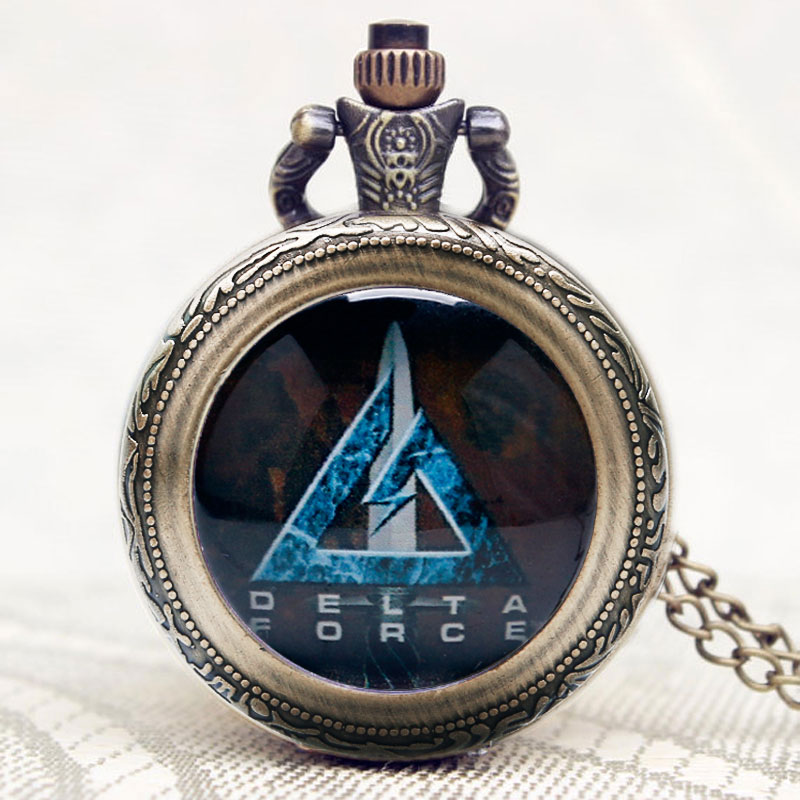 Chirstmas Gift Modern United States Delta Force Fashion Cool Pocket Watch Clock Rotatable Case Women Men Pendant Necklace Chain