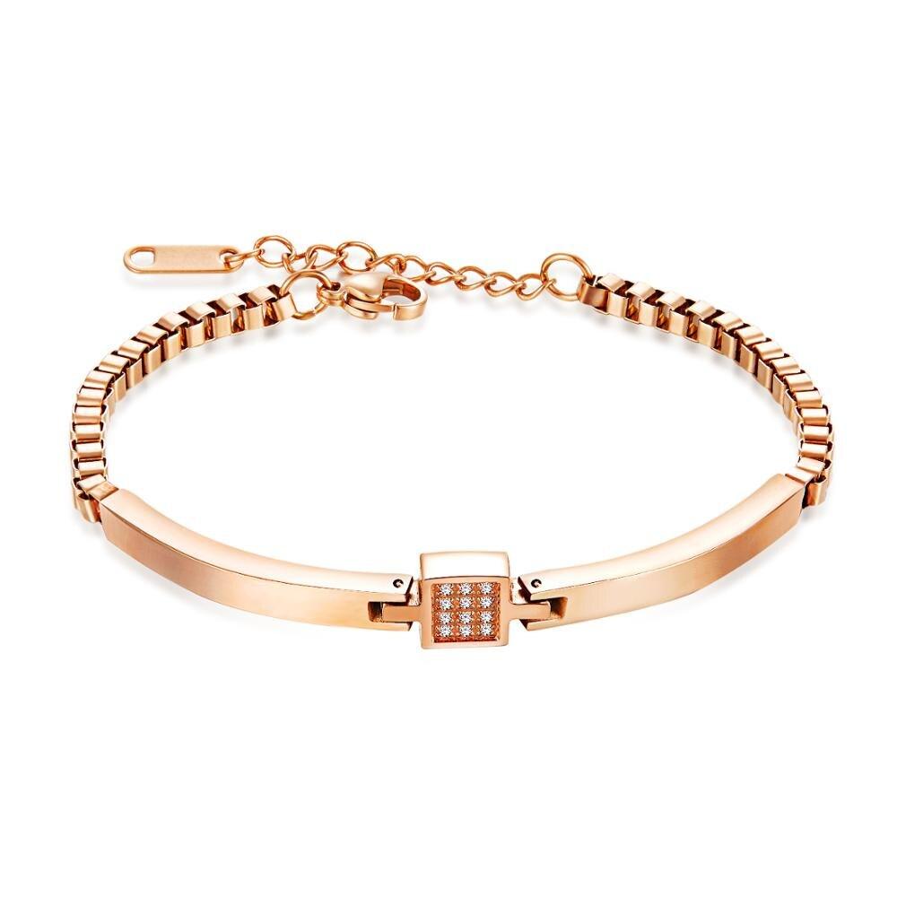 Japonais et coréen romantique doux bijoux Rose mode Bracelet de dame en acier titane Simple Bracelet en or Rose