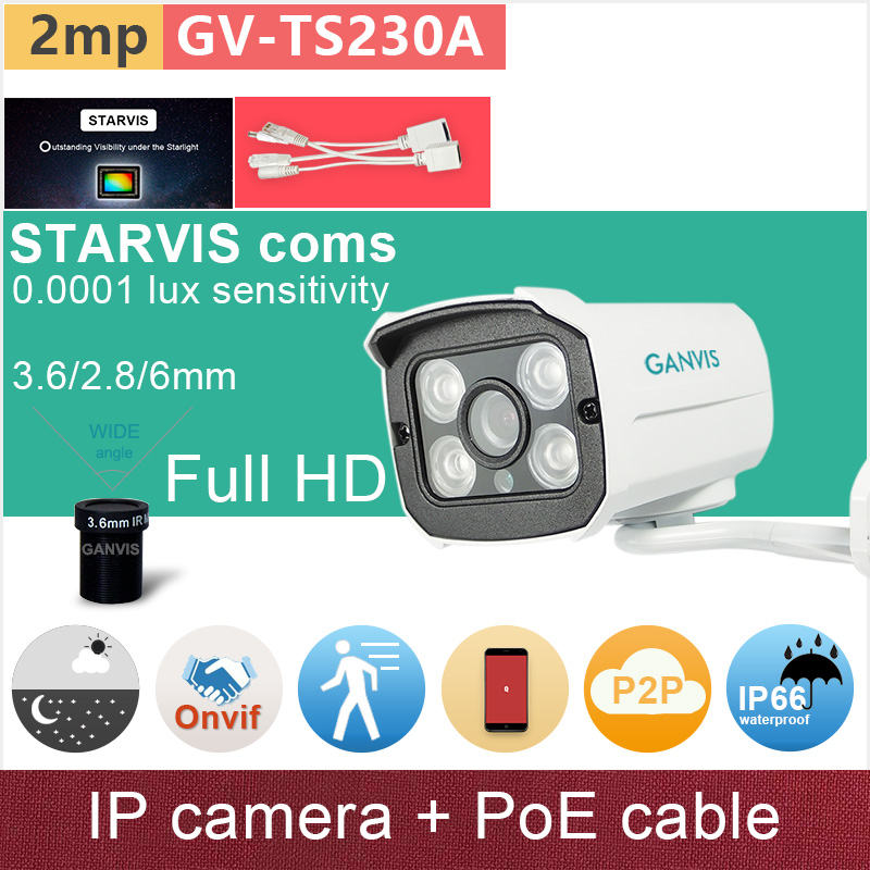 SONY STARVIS# 1080P FHD 2mp IP camera + PoE cable starlight night vision outdoor security CCTV cameras onvif GANVIS GV-TS230A pk sony starvis built in heater poe cable kit ip camera 1080p full hd 2mp starlight cctv camera outdoor dome ganvis gv ts255vh pk