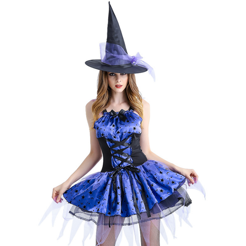 2018 new Sexy Purple Witch Costume Halloween For Women Adult Purple Swallow Tail Braces Dress Hat Carnival Party Female Suit