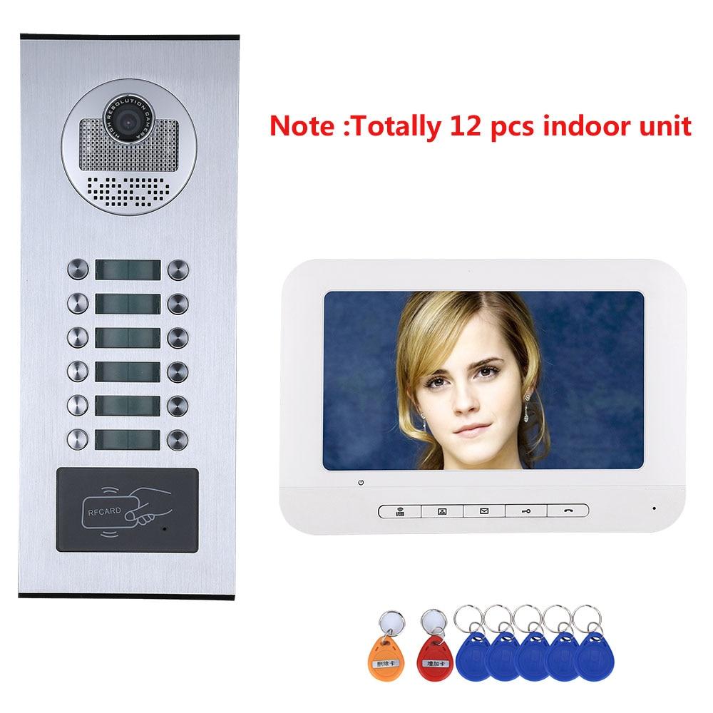 8/9/10/11/12 Apartment/Family Video Door Phone Doorbell Intercom System RFID IR-CUT1000TVLCamera With 12 Button 12 Monitor