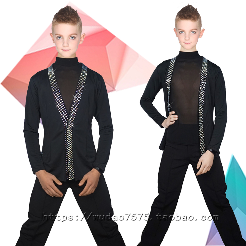 New Ballroom Latin Dance Shirts Boys Long Sleeve Tops Kids Modern Dance Clothing Tango Clothes Competition Performance Wear