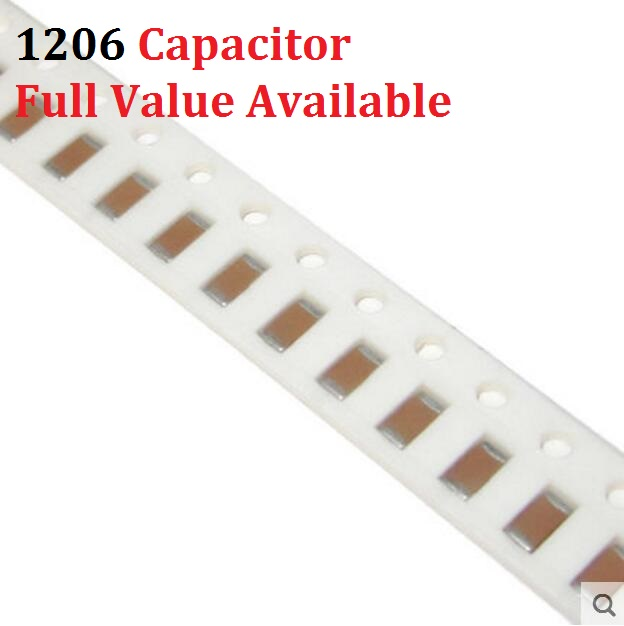 100PCS 1206 104 SMD Capacitor 4.7NF 10NF 22NF 47NF 100NF 220NF 50V 472 103 223 473 224 K/m/z 0.01/0.022/0.047/0.1/0.22/uf Kit