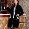 New Winter Women's Long Real Natural Lamb Fur Coat Sheep Shearling Jacket Overcoat Pockets Plus Size 160623-1